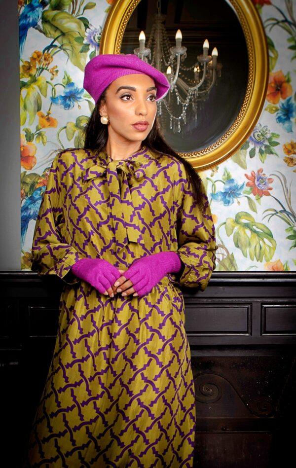 Green pussybow midi silk dress with purple print
