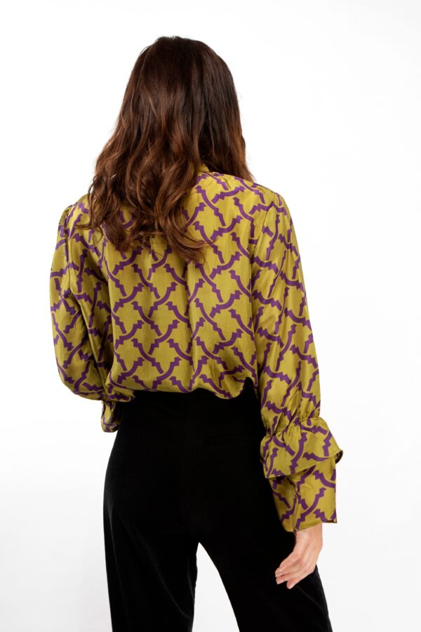 Olive green and purple print silk blouse