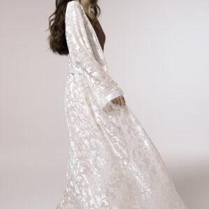 Dressing gown silk-blend devorè