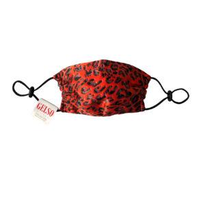 "Silk Face Mask ""Red Leopard"" Print"