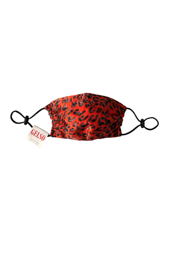 """Silk Face Mask """"Red Leopard"""" Print with a defensive nanomembrane"""