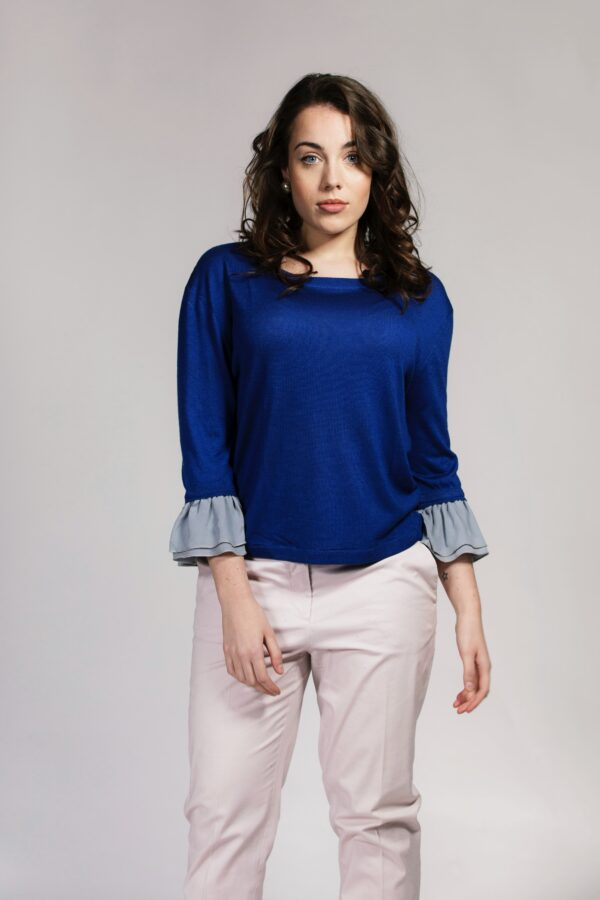 Blue Ruffle-trimmed silk / cashmere top