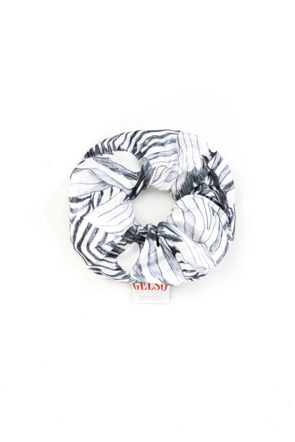 """Silk Scrunchie """"White Zebra"""" Print"""