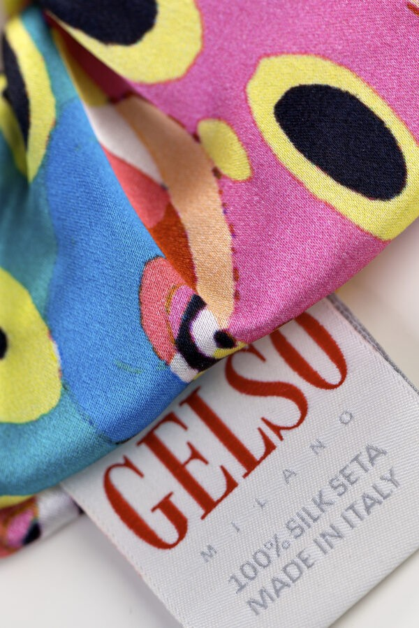 """Silk Hair Scrunchies """"Harlequin"""" Print"""