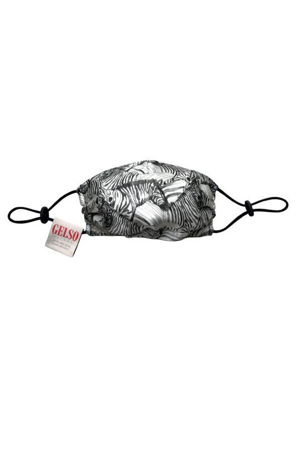 """Silk Face Mask """"White Zebra"""" Print"""