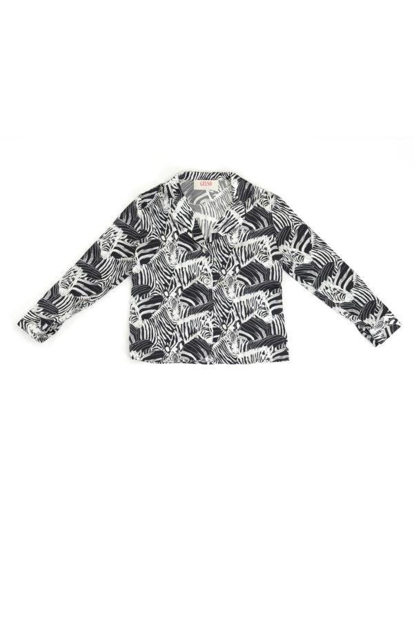 """Baby Pajamas Silk Shirt """"Black Zebra"""" Print"""