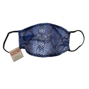 "Silk Face Mask ""Blue Python"" Print"