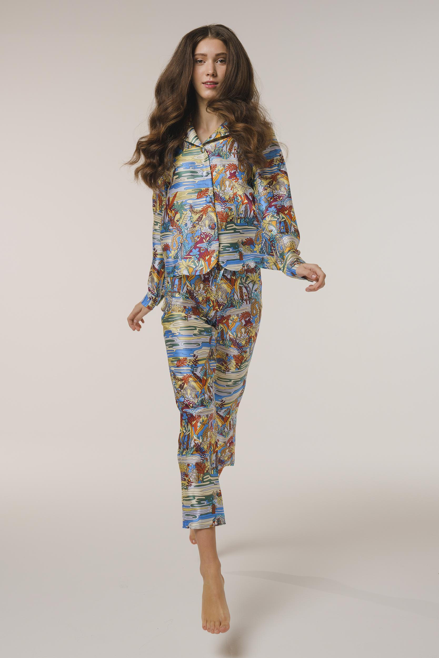 "Silk Pajama Set Shirt ""Swamp"" Print"