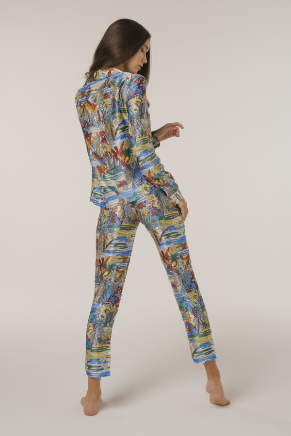 "Silk Pajama Pants ""Swamp"" Print"