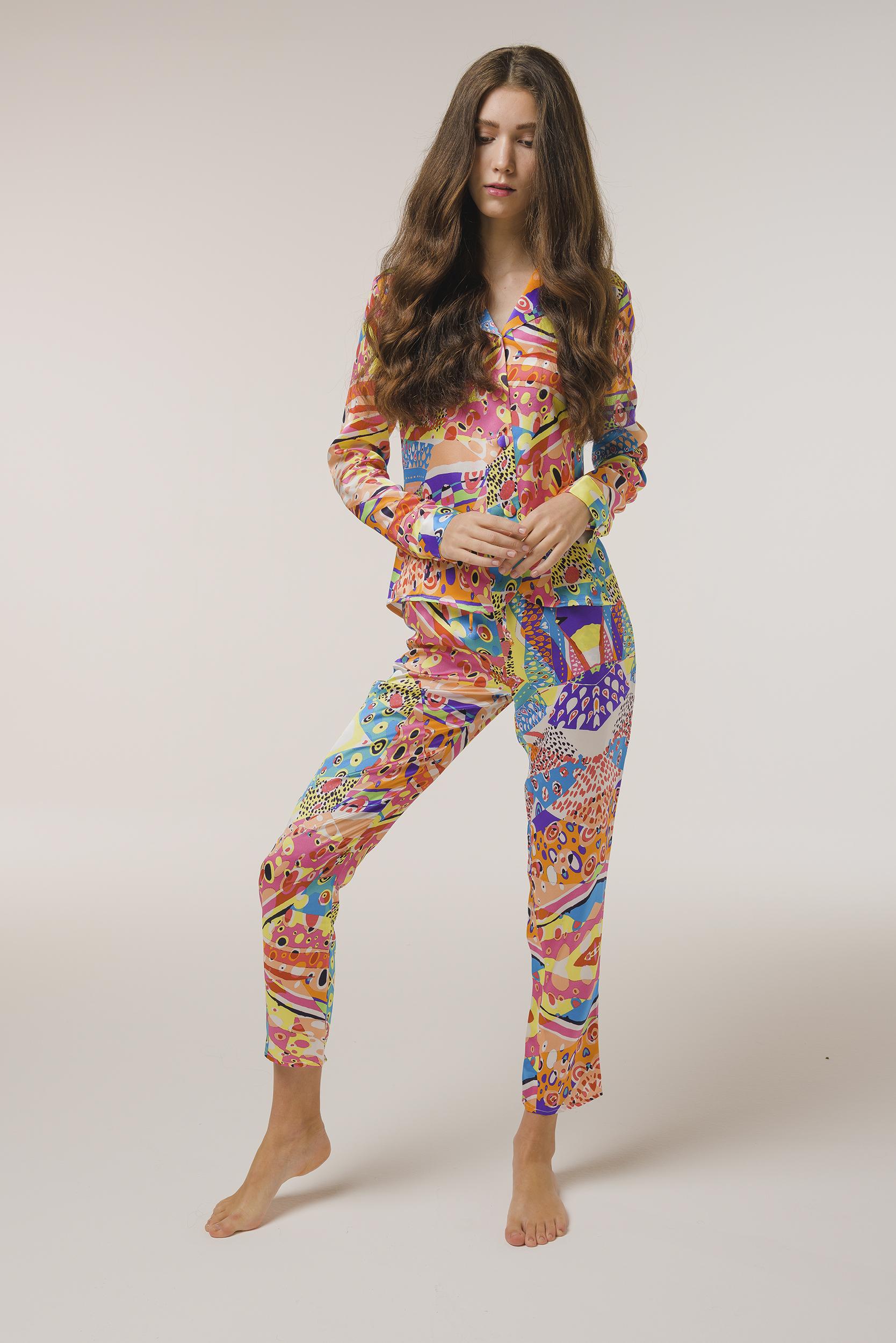 """Luxurious Pajamas Silk Shirt """"Harlequin"""" Print"""