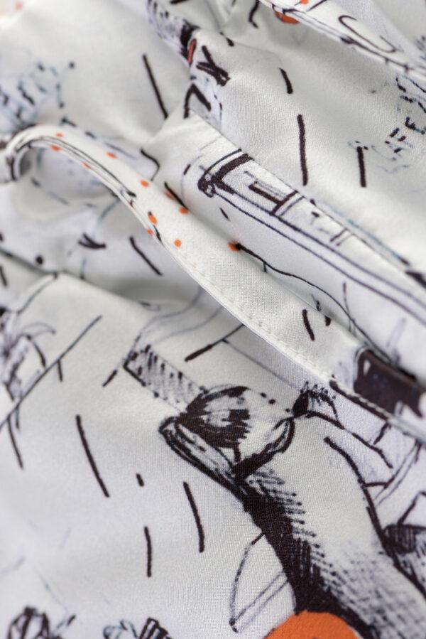 "Silk Pyjama Pants ""Woman"" Print"