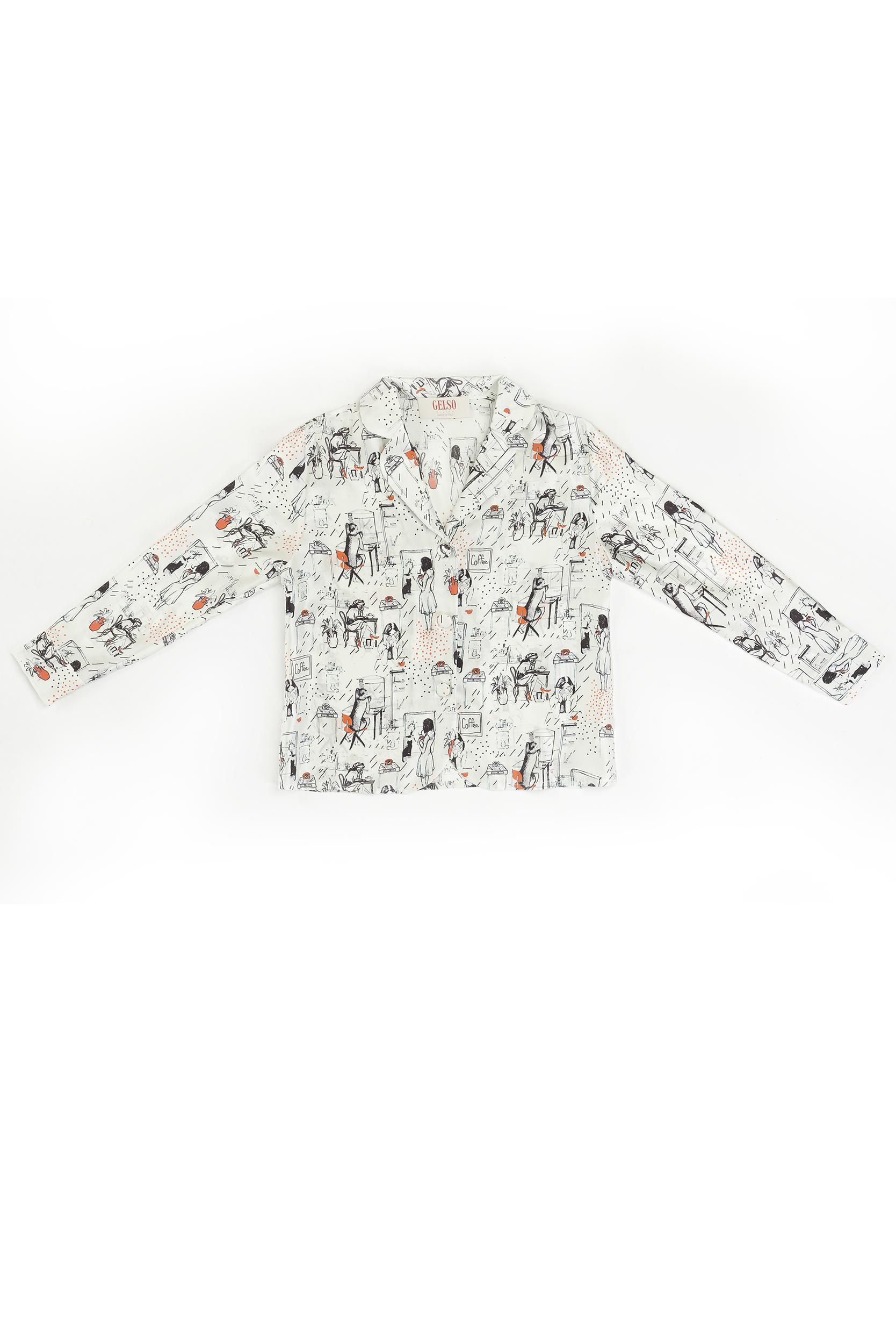 """Baby Pajamas Silk Shirt """"Woman"""" Print"""