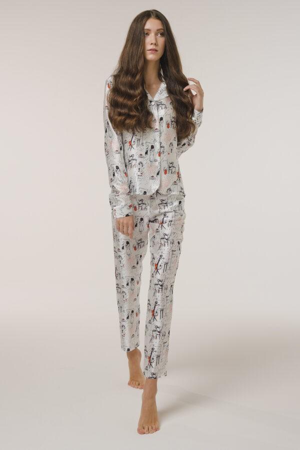 "Silk Pajama Shirt ""Woman"" Print"