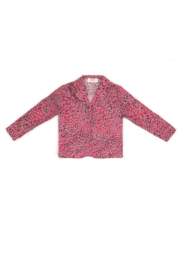 "Baby Pajamas Shirt in Silk ""Pink Leopard"" Print"