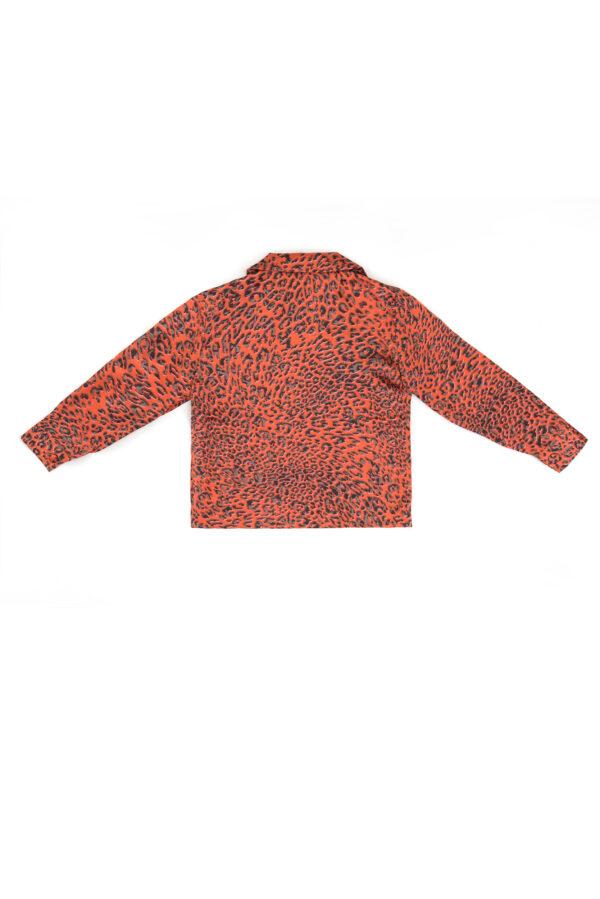 "Baby Silk Leopard Pajamas Shirt ""Red Leopard"" Print"