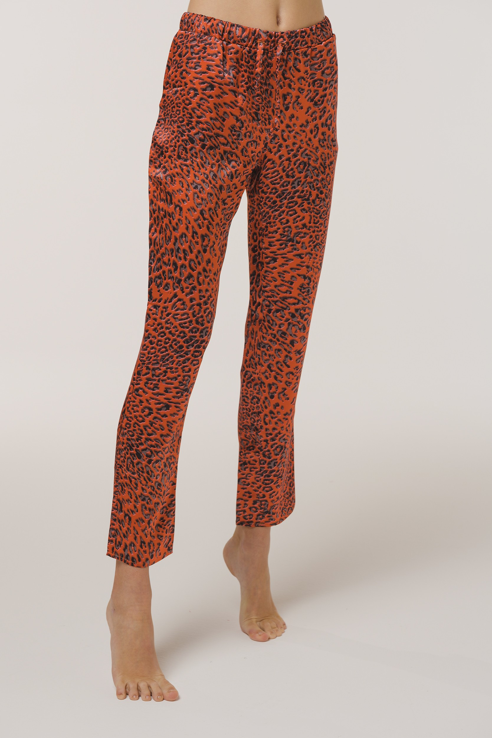 "Pajamas Leopard Print Pants in Silk ""Red Leopard"""