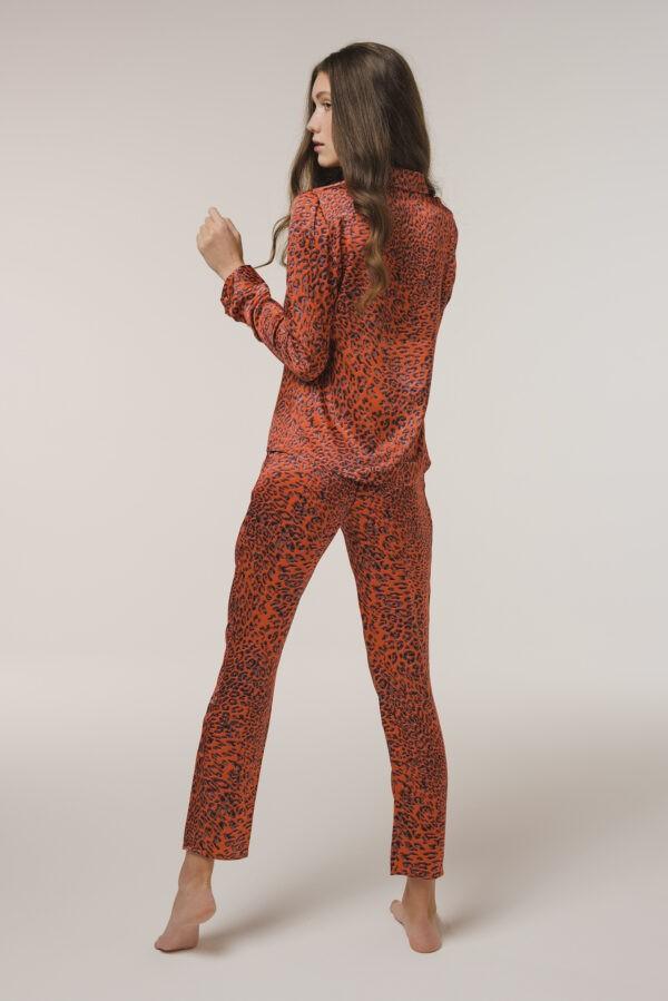 "Silk Nightwear Shirt ""Red Leopard"" Print"