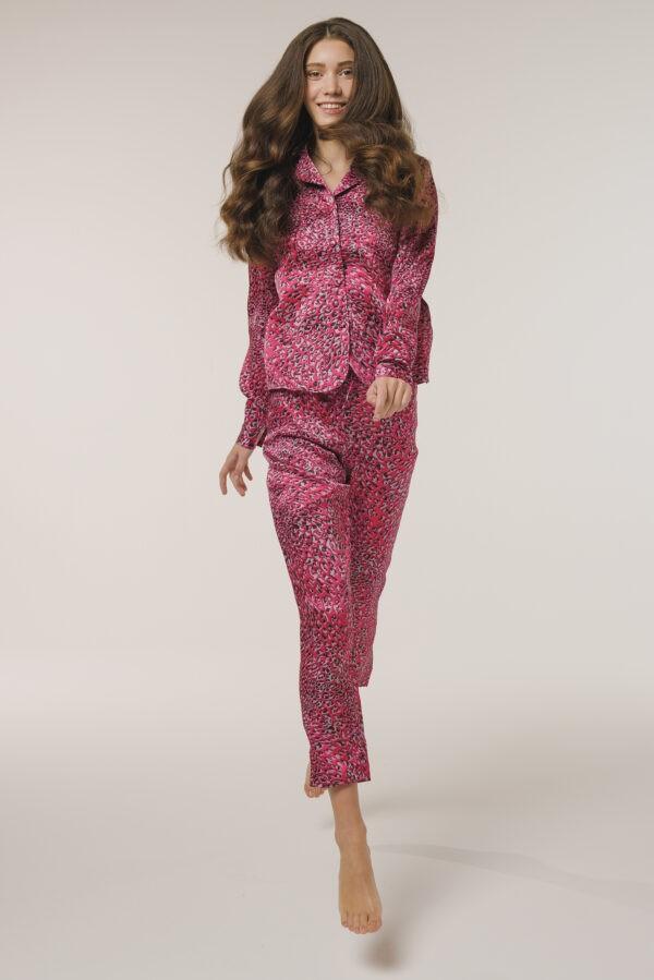 "Silk Pajamas Shirt ""Pink Leopard"" Print"