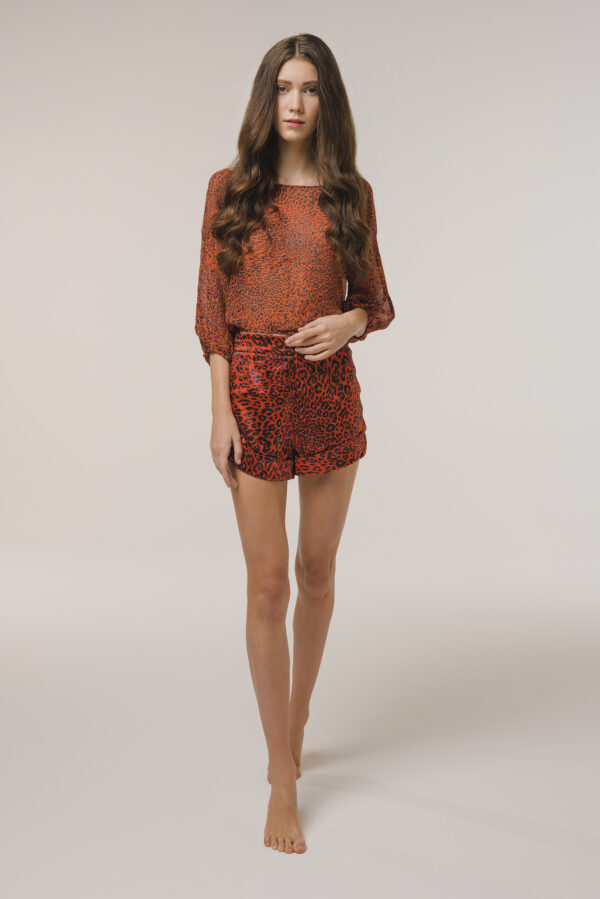 Red Animalier Shorts