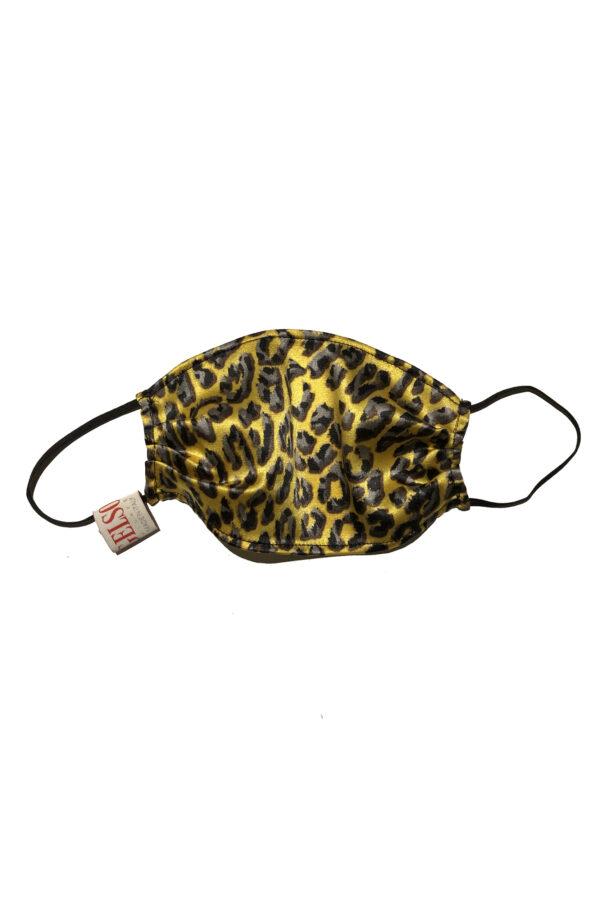 "Silk Face Mask ""Yellow Leopard"" Print"