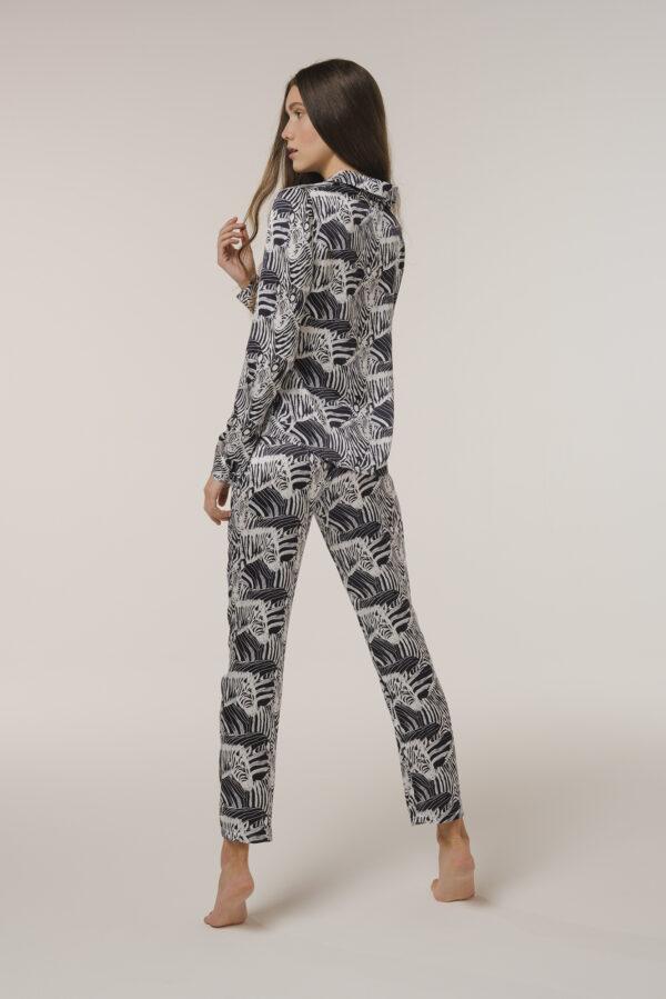 "Zebra Pajamas Silk Shirt ""Black Zebra"" Print"