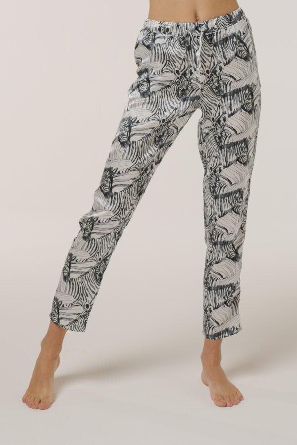 "Silk Pajamas Pants ""White Zebra"" Print"