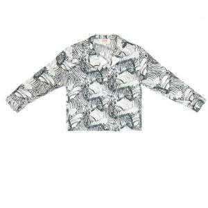 """Baby Printed Silk Pajamas Shirt """"White Zebra"""" Print"""