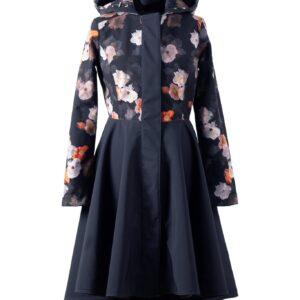Black Flared Coat with Hood