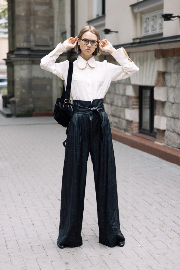 Black Faux Leather High Waist Long Wide Leg Trousers