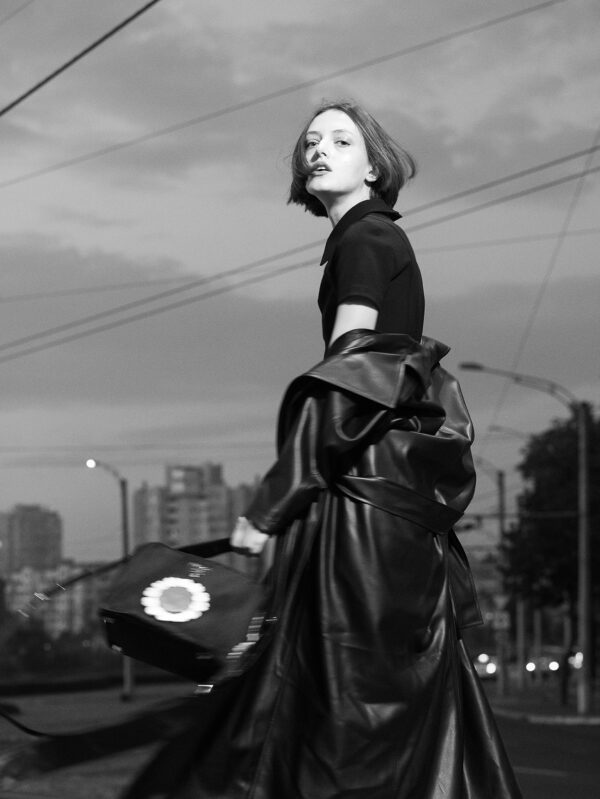 Black Faux Leather Midi Wrap Trench