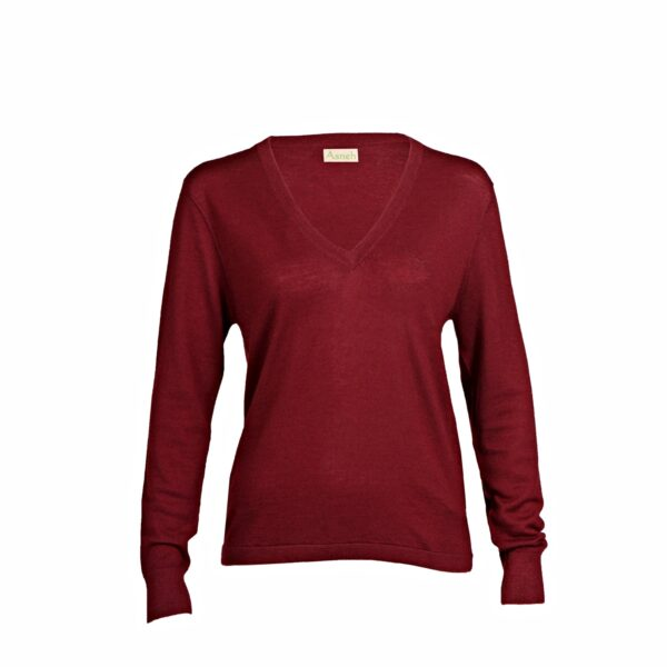 Cashmere V-neck Sweater in wine coloured Cabernet - fine knit