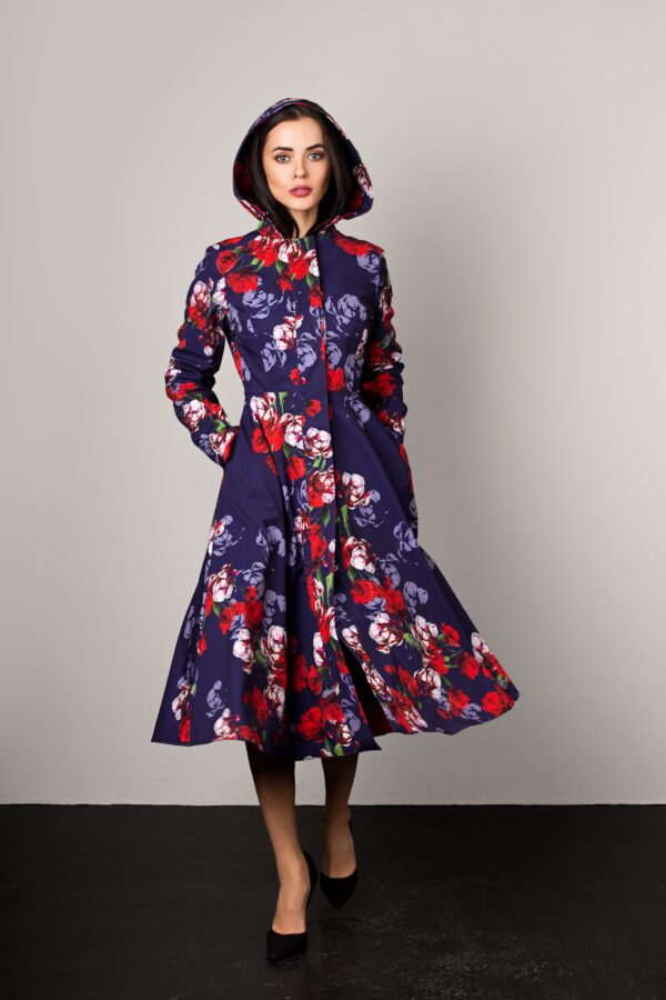 Blue and red women's designer coat with floral print