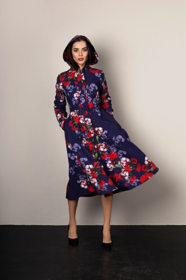 hooded blue and red designer coat by RainSisters