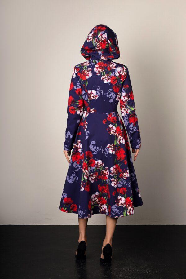 blue and red designer swing coat for women