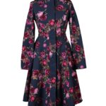 Fitted and Flared Women's Coat with Hood | 'Misty Rose'