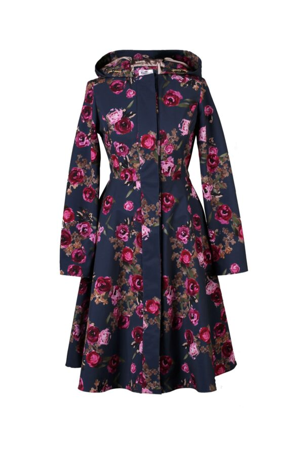 Fitted and Flared Women's Coat with Hood