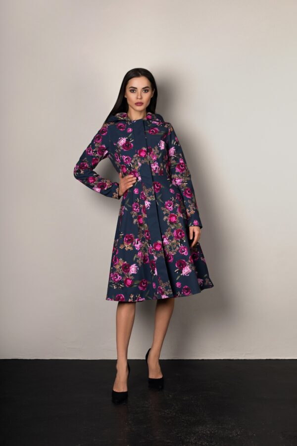 Fitted and Flared Women's  floral Coat