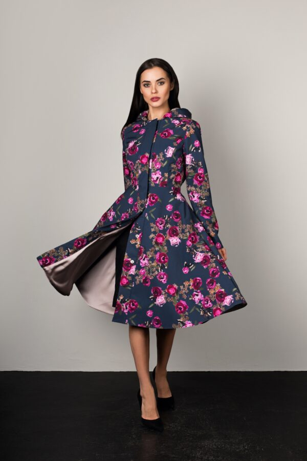 Fit and flare swing coat for women