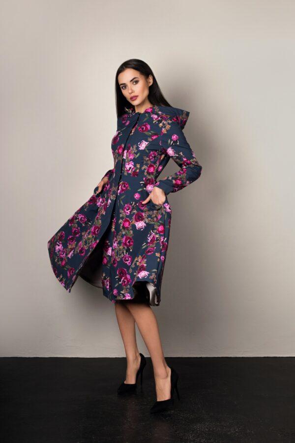Steel blue women's swing coat with pink flower print