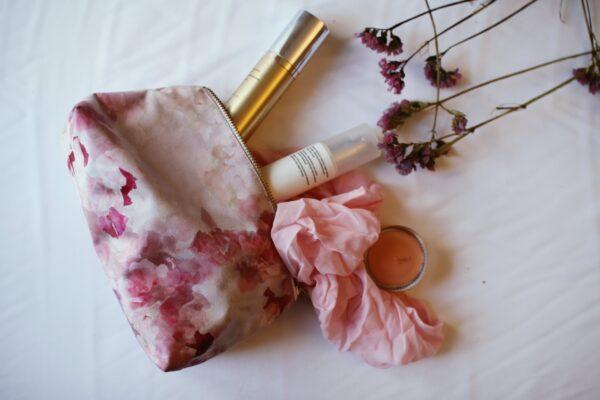 Pink makeup bag with sweet pea flower print