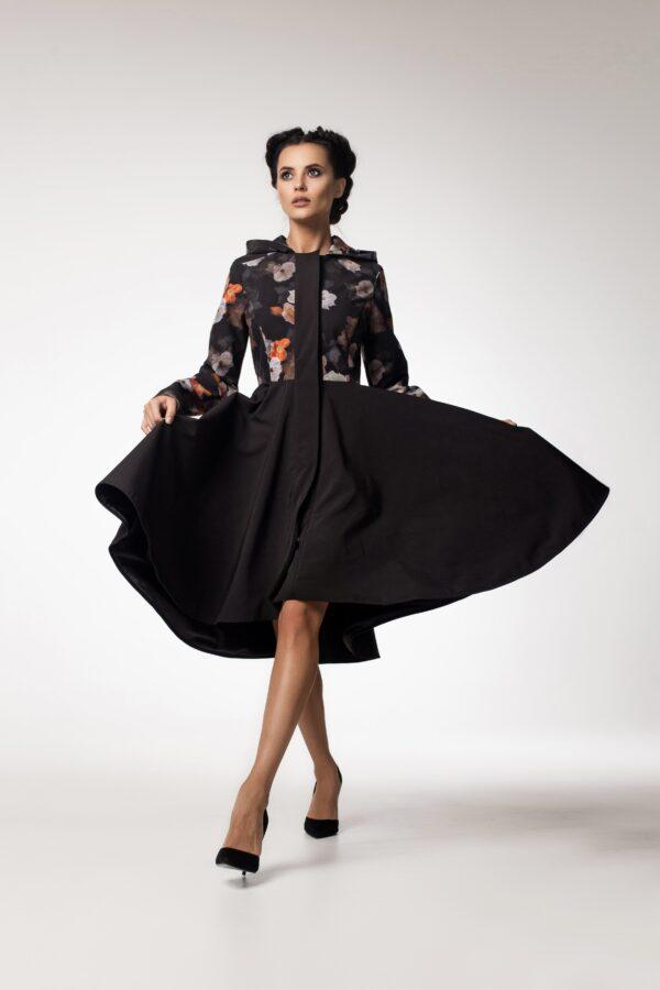 Black Flared Coat with full volume skirt