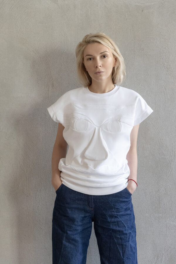 White Vest Style Sleeveless Blouse Jersey