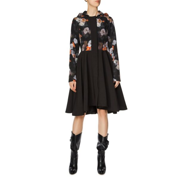 Black and floral Flared Coat with Hood
