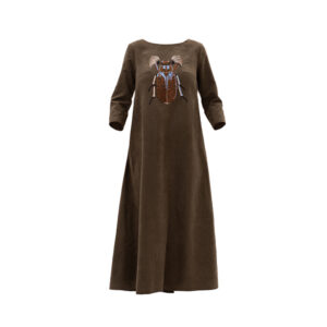 Maxi A-line Dress with Embroidery