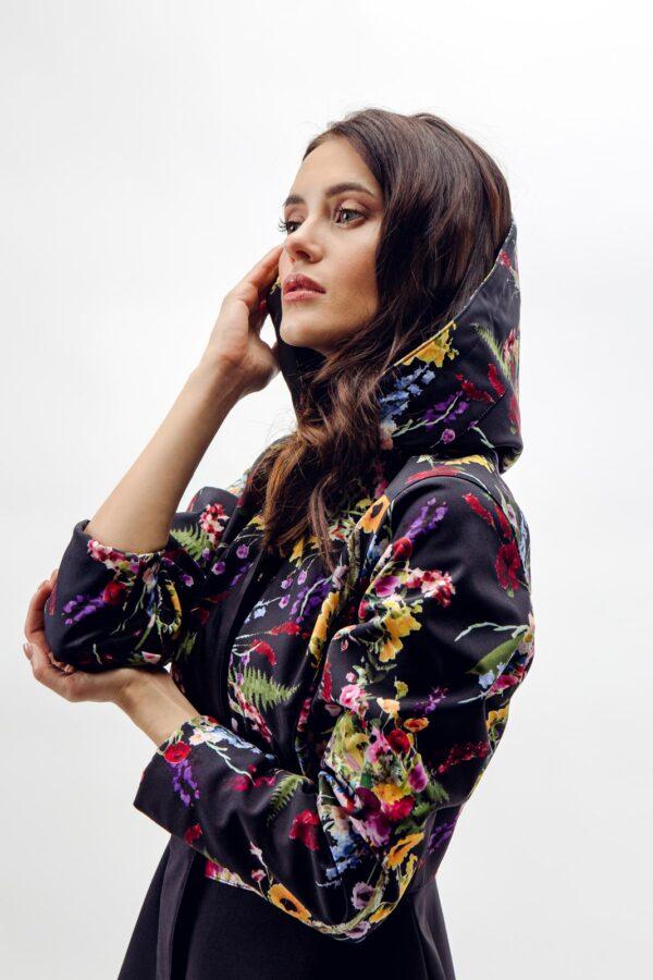 Meadow Flower print on Hooded Long Women's Overcoat