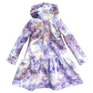 Light Blue Trapeze Raincoat for Girls front