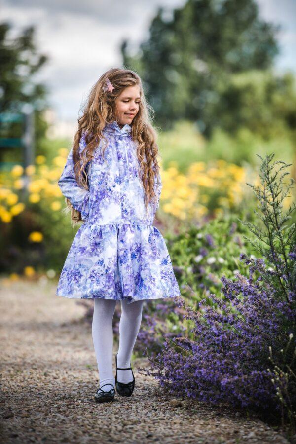 Light Blue Trapeze Raincoat for Girls front & pockets