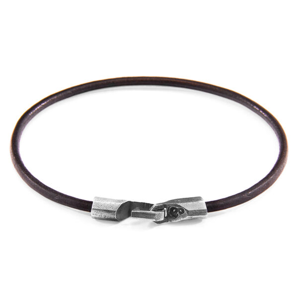 Mocha Brown Talbot Silver and Round Leather Bracelet