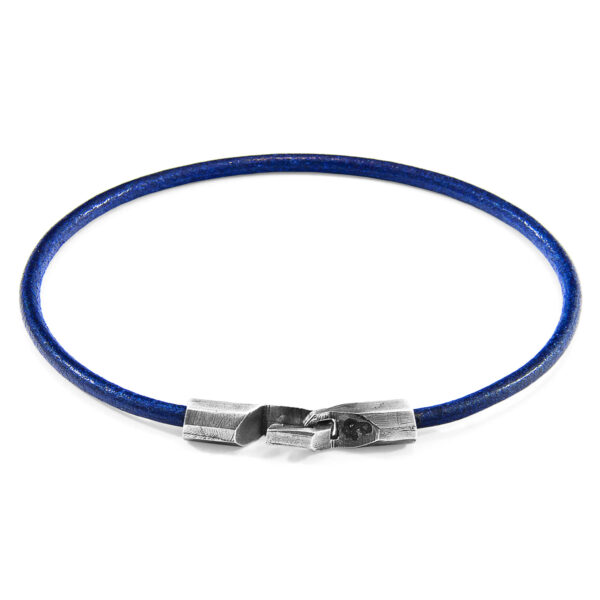 Azure Blue Talbot Silver and Round Leather Bracelet