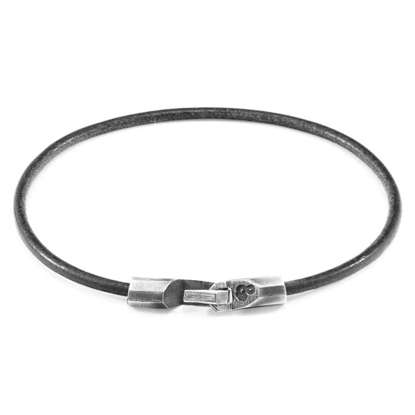 Shadow Grey Talbot Silver and Round Leather Bracelet